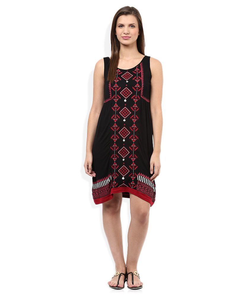 10b365024f9a9 Global Desi Black Printed Dress - Buy Global Desi Black Printed Dress  Online at Best Prices in India on Snapdeal