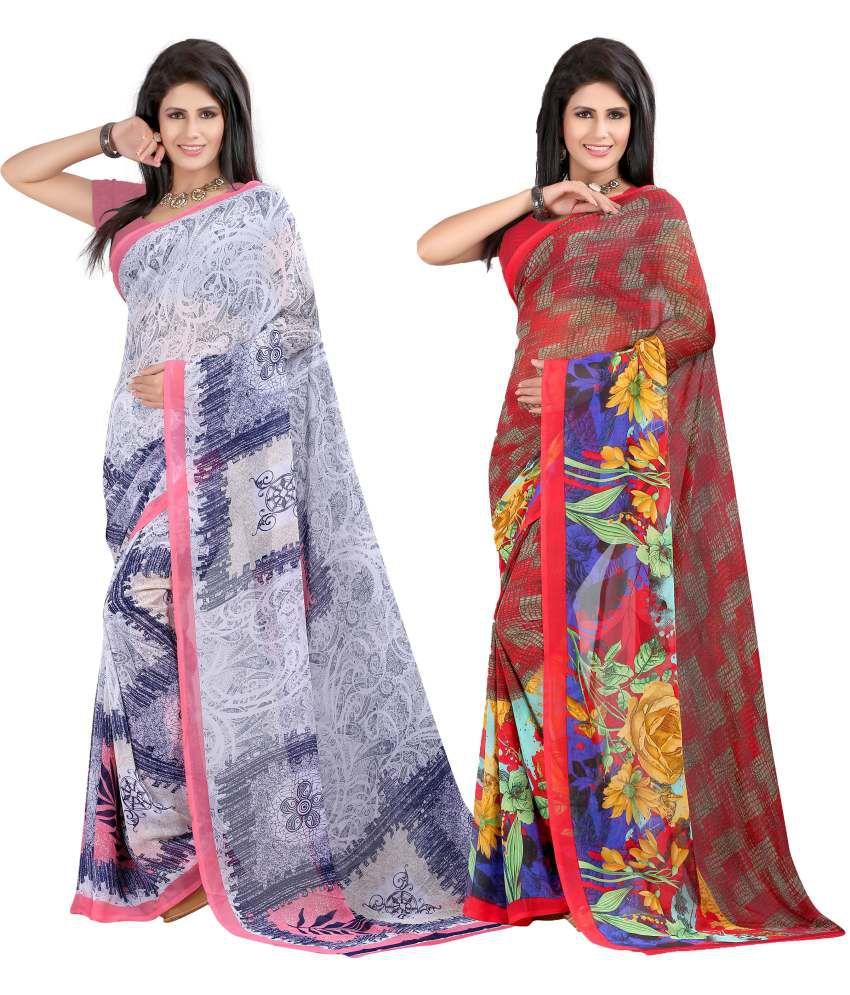 Indianefashion Designer Multicolour Georgette Pack Of 2