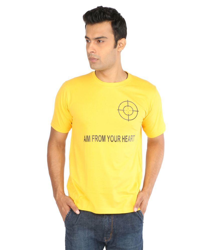 Crescent Yellow Cotton Round Neck T Shirt