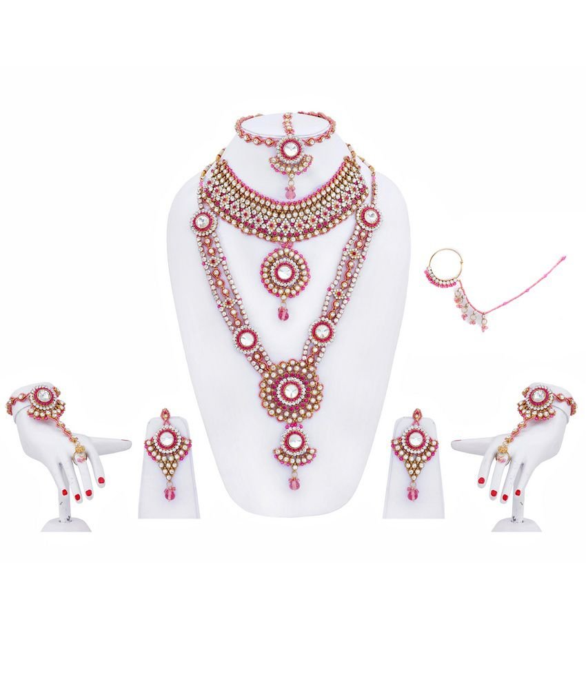 LUCKY JEWELLERY Pink Alloy Bridal Necklace Set With 1 Pair Bracelet, Nosepin And Mang Tikka