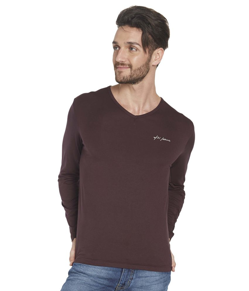 Globus Brown Cotton Full Sleeves T Shirt