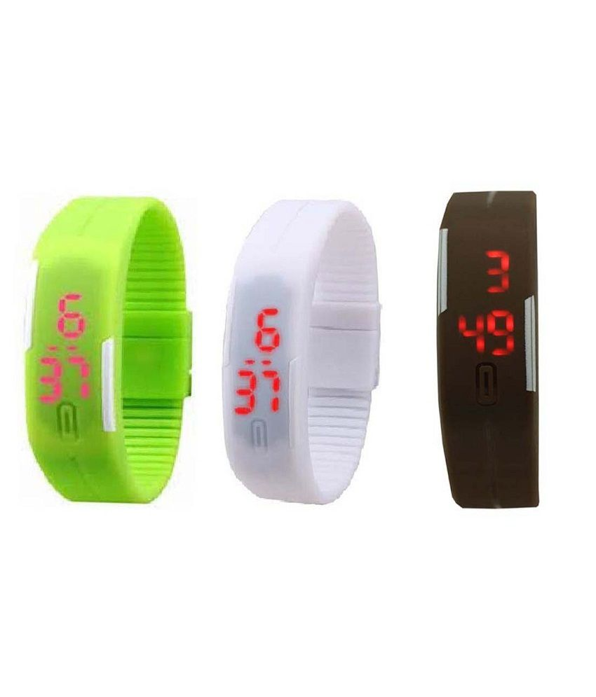 Lime Multicolor Rubber Strap Automatic Watch - Combo of 3