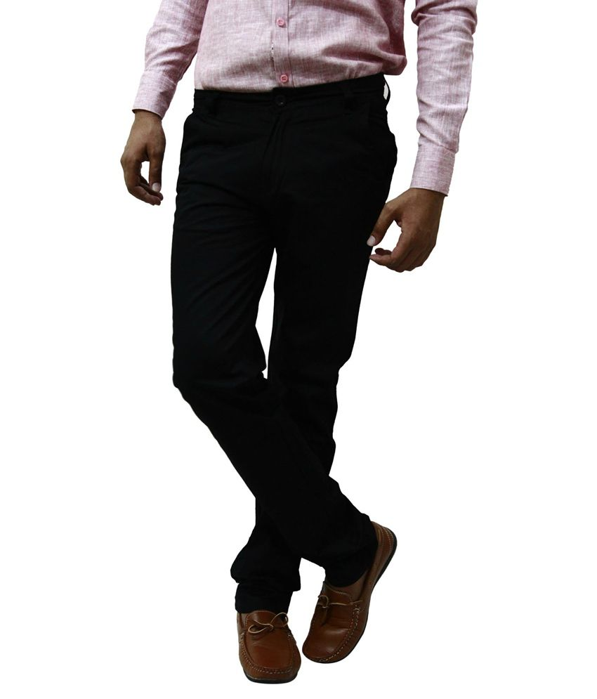 BlueTeazzers Black 100 Percent Cotton Regular Fit Chinos