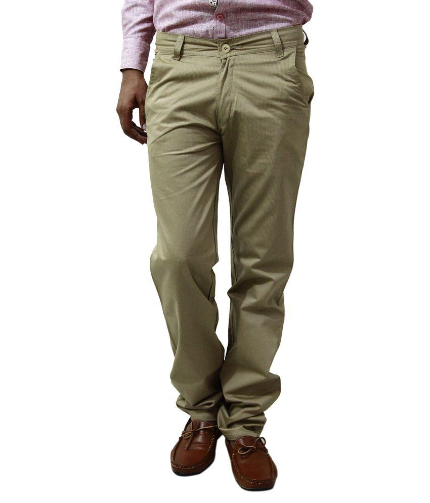 BlueTeazzers Golden 100 Percent Cotton Regular Fit Chinos