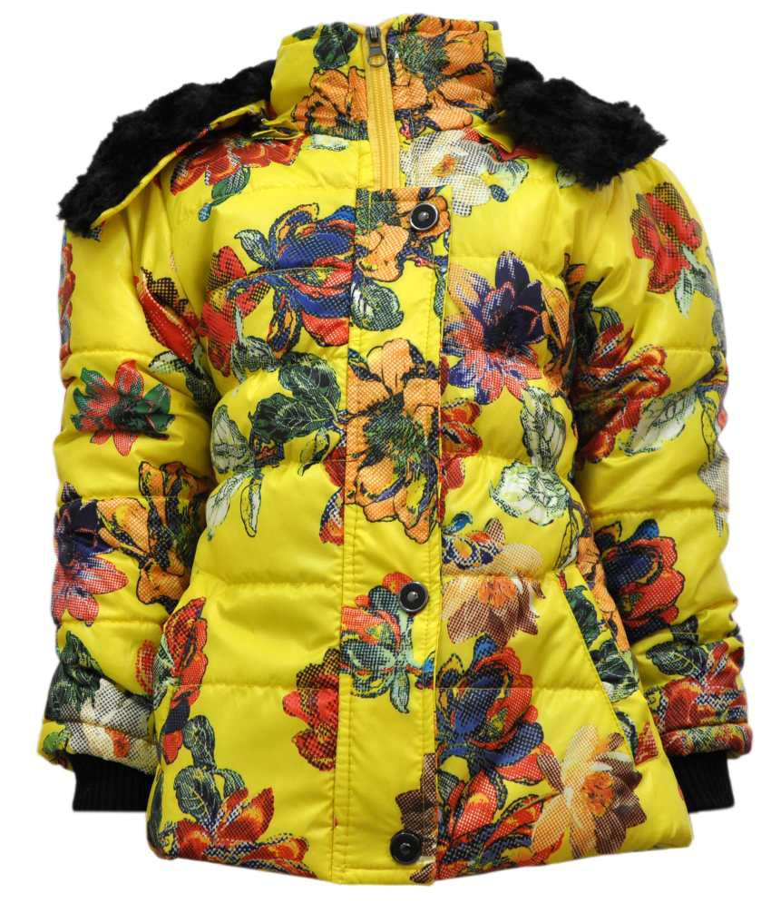 Come In Kids Yellow Acrylic Padded Jacket With Hood