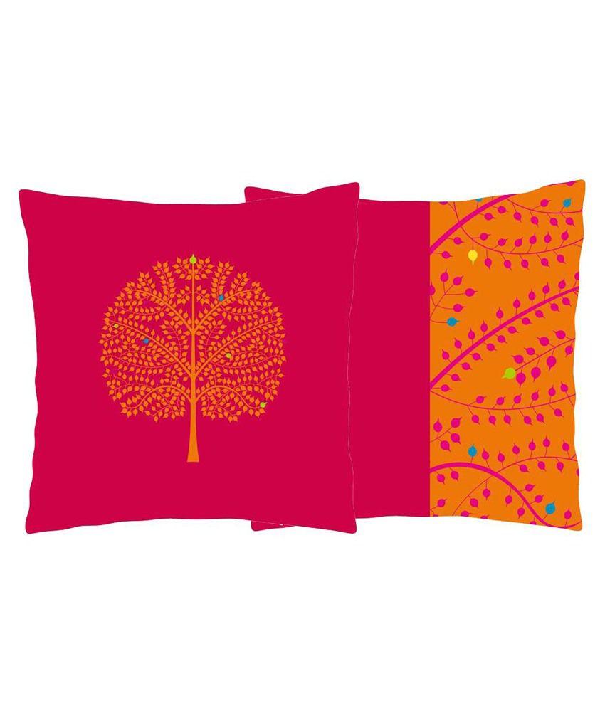 Craftghar Multicolour Poly Cotton Cushion Cover