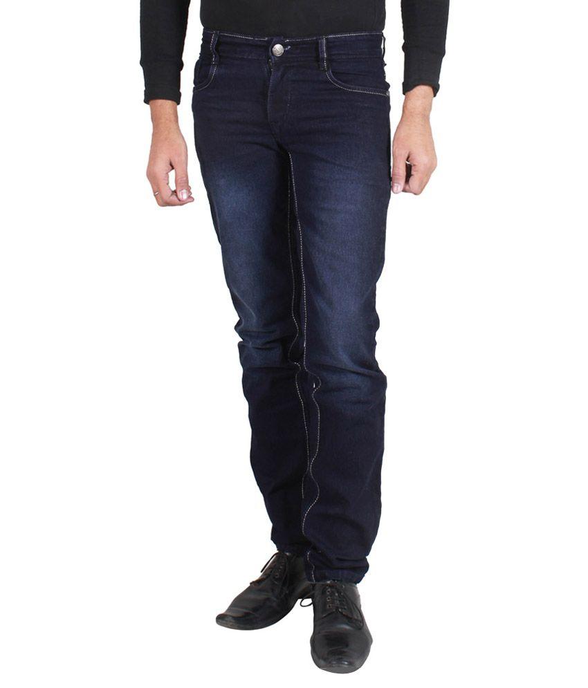 Sdc Navy Blue Cotton Blend Jeans