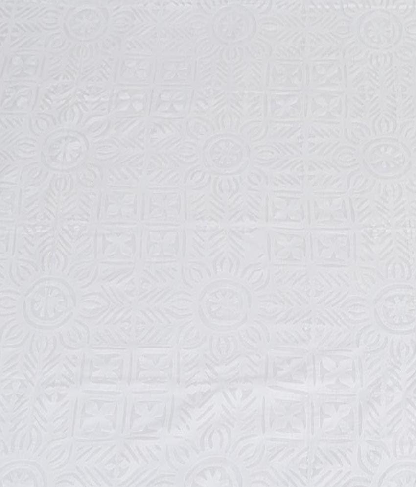 Indigenous Handicrafts White Applique Work Cotton Double Bed Cover