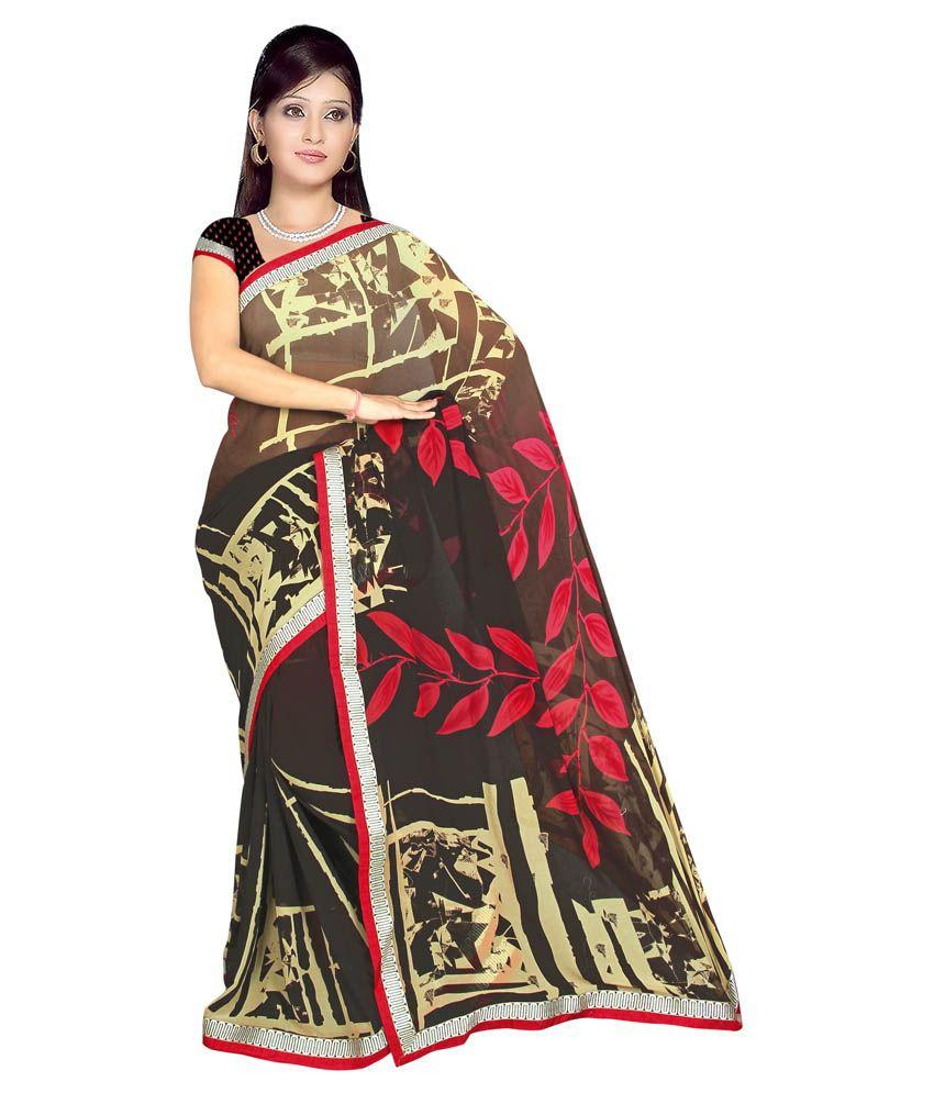 Sonal Trendz Brown Art Silk Saree