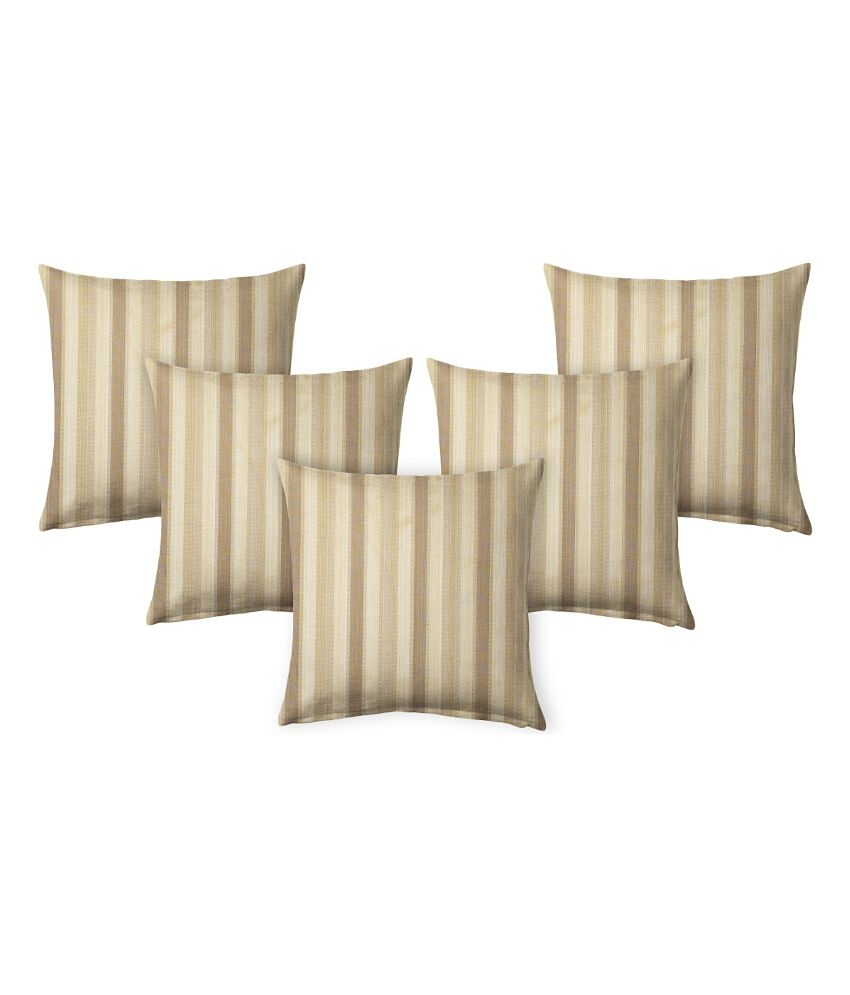 Suam Brown Polyester Cushion Cover - Set Of 5