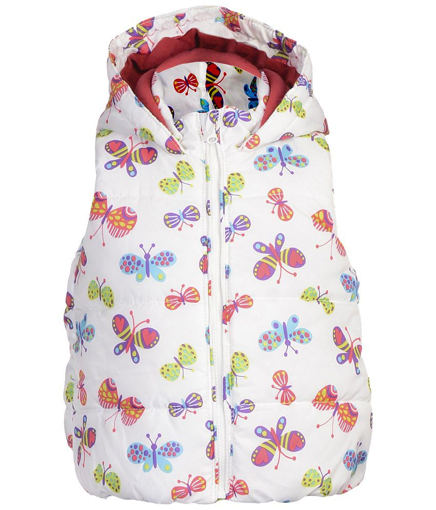 Addyvero White & Pink Faux Satin Quilted Jacket