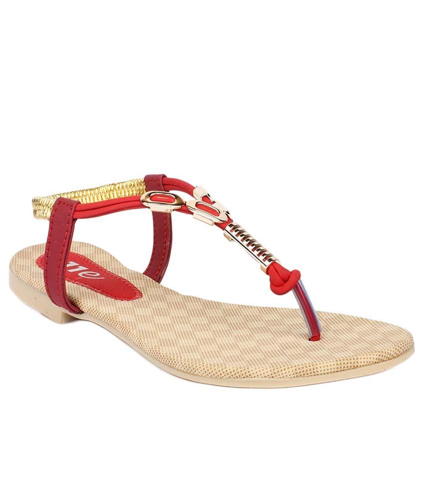 11e Red Flat Sandals