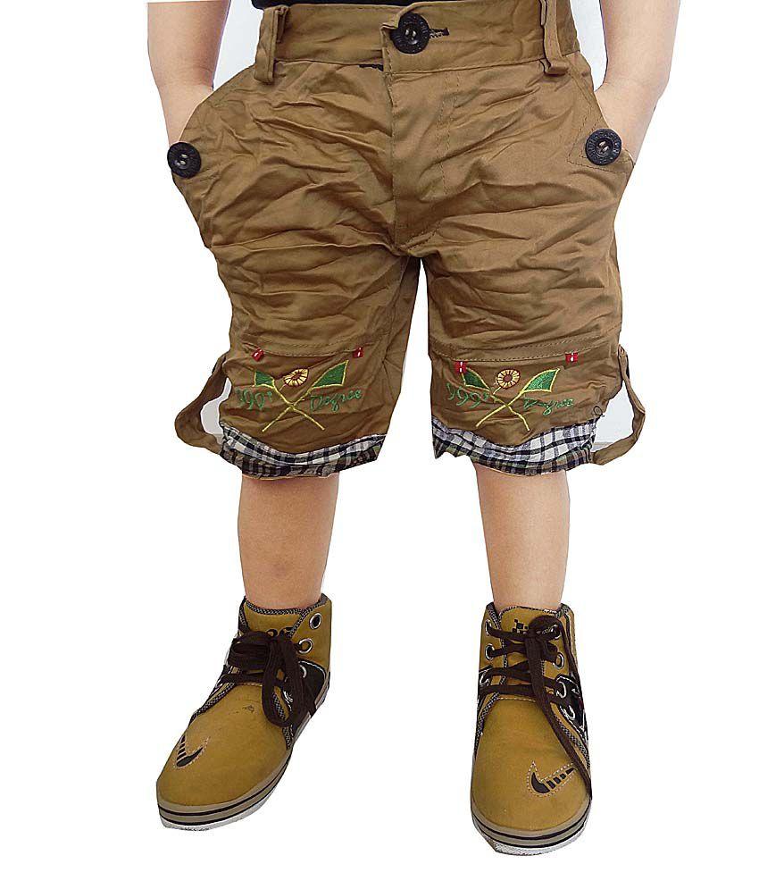 AD & AV Khaki Cotton Blend Shorts