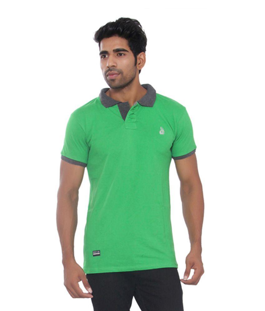 Osho Fashion Concepts Green Half Sleeves Basics Wear Polo T-Shirt