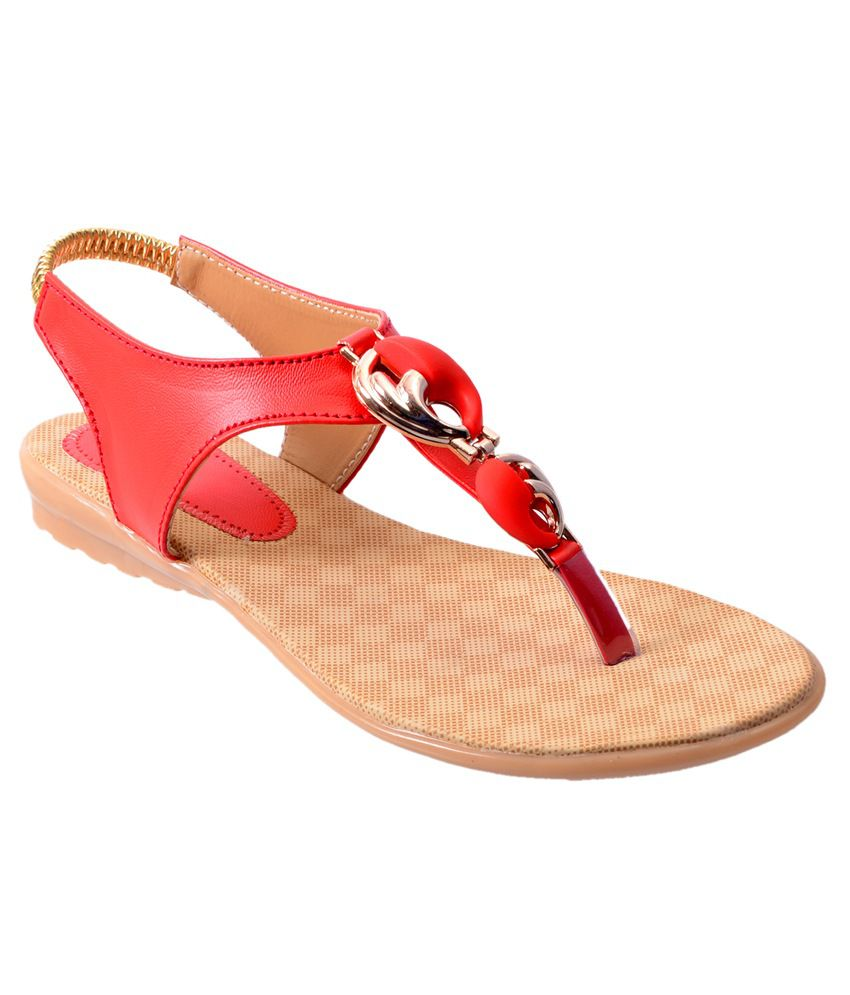 Rising Sun Red Flat Sandals