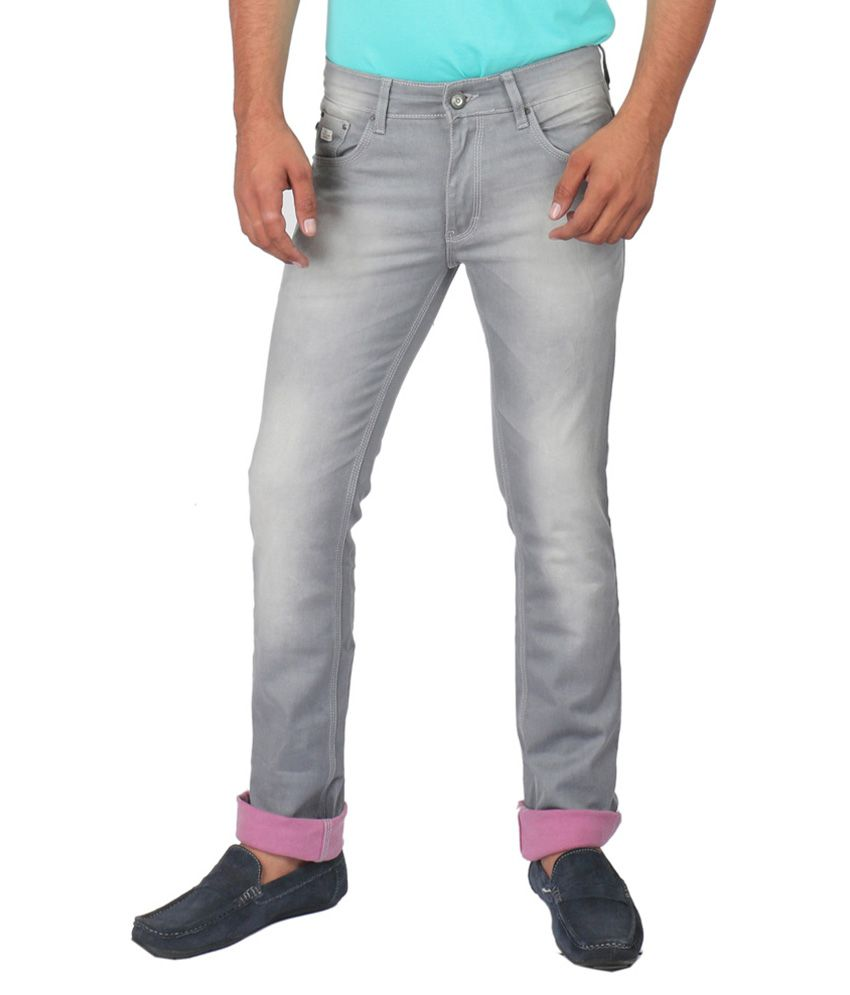 Streetguys Grey Cotton Blend Slim Fit Jeans