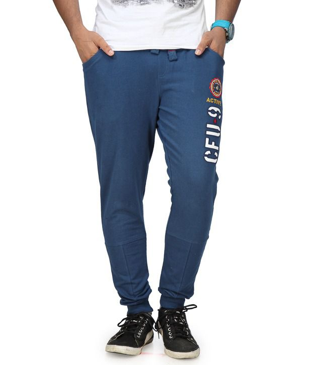 Cult Fusion Blue Cotton Trackpants