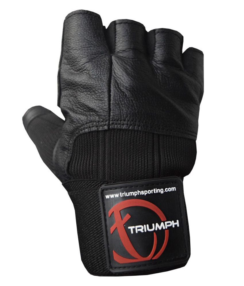 Driving gloves online shopping india -  Triumph Power Leather Gym Driving Gloves Black