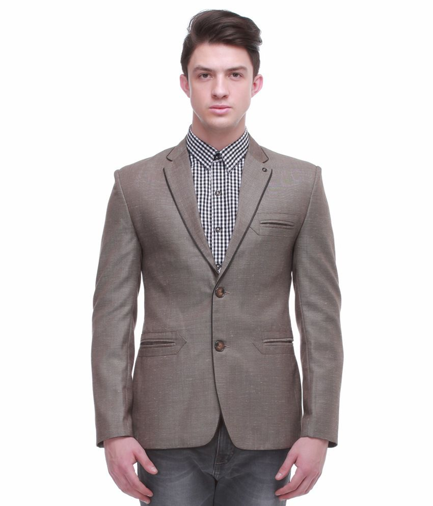 Jogur Brown Full Sleeve Casual Blazer