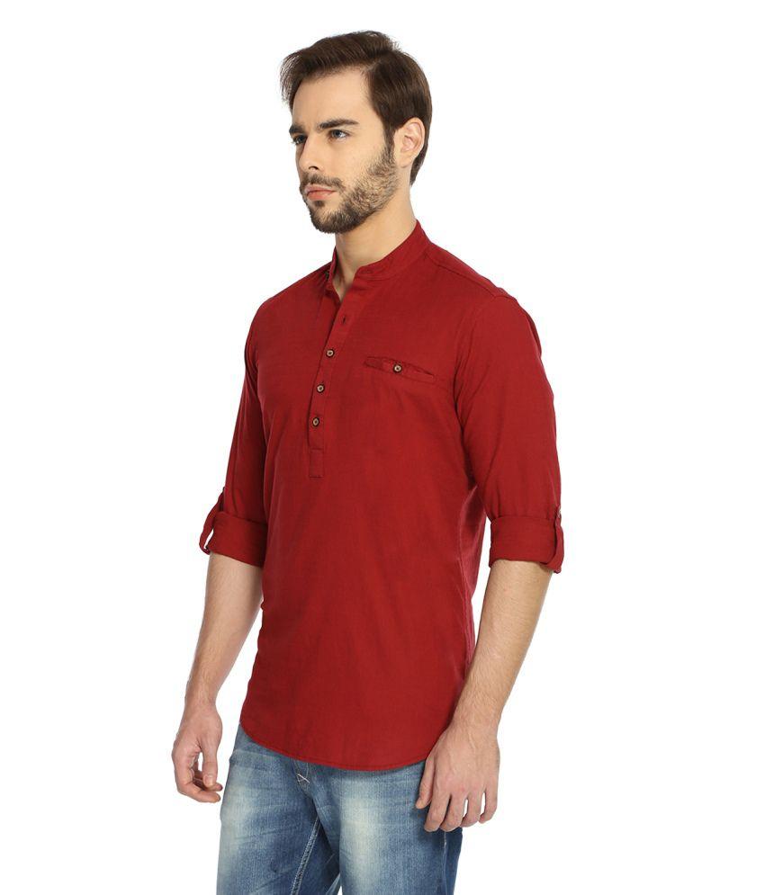 47dd43ab913 Rockstar Jeans Maroon Blended Cotton Ethnic Kurta - Buy Rockstar ...
