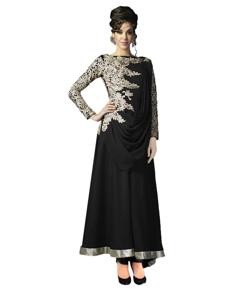 Suchi Fashion Black Faux Georgette Unstitched Dress Material