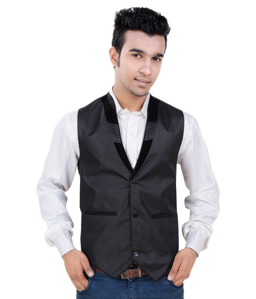 V-Mens Black Poly Blend Casual Waistcoat