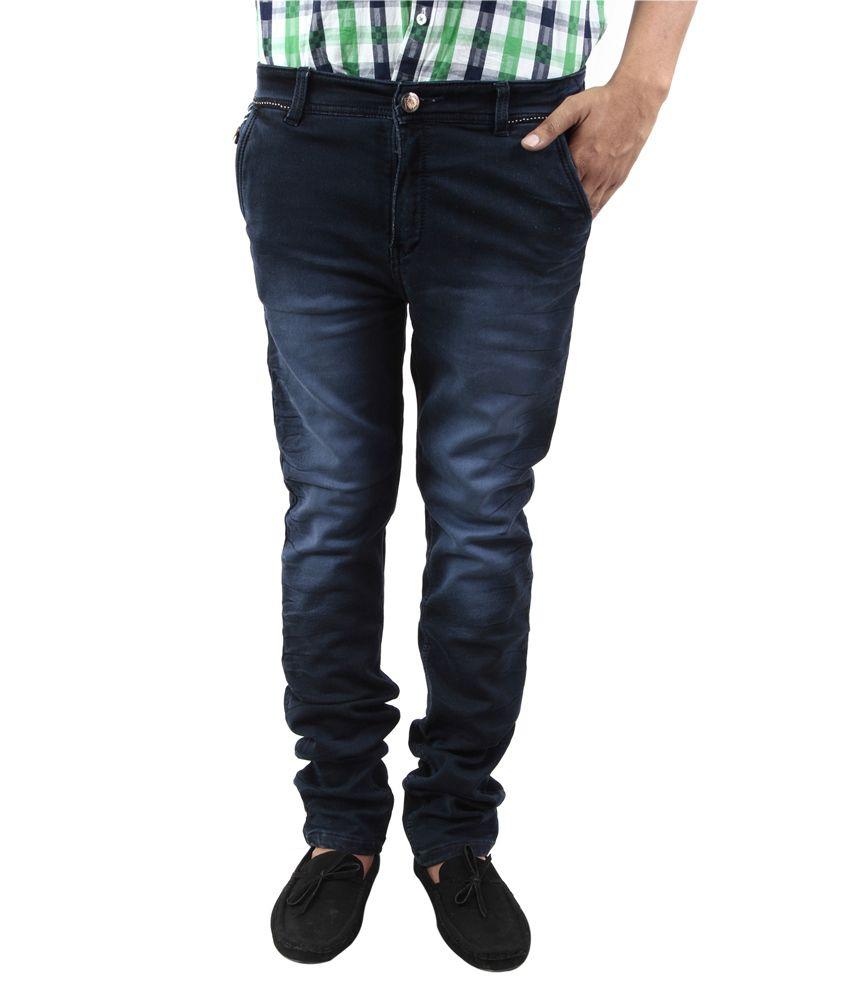 BlueTeazzers Navy Blue Cotton Blend Slim Fit Jeans