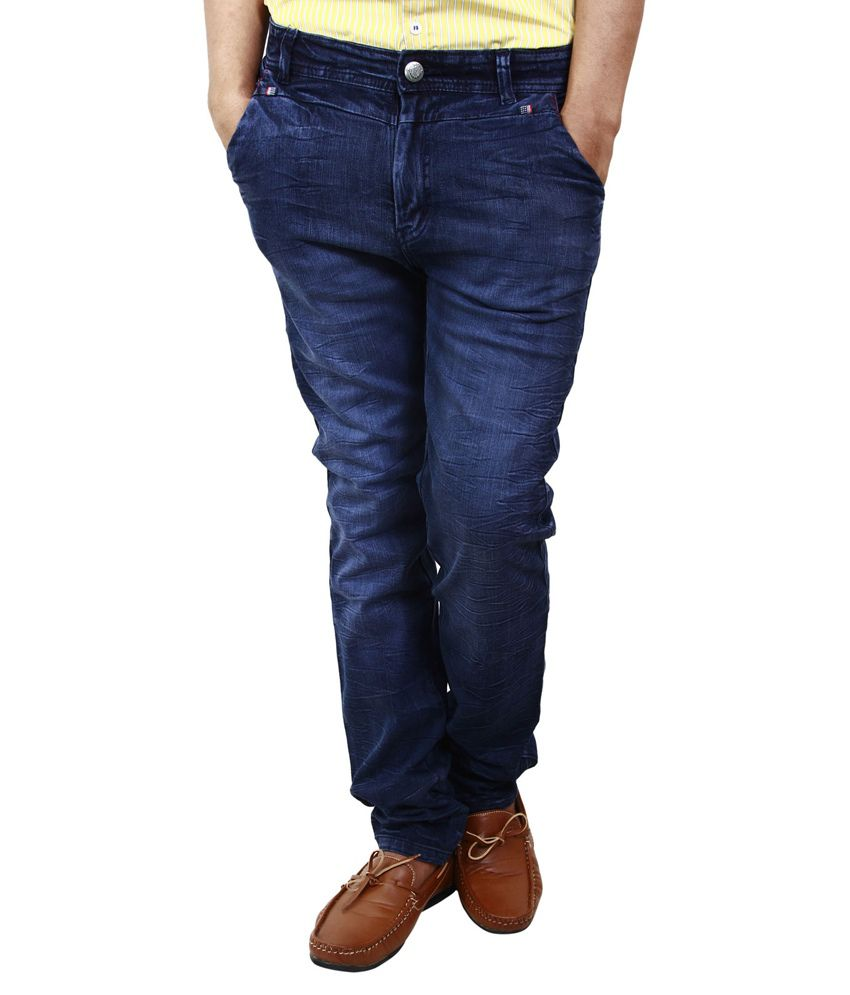 BlueTeazzers Navy Blue Cotton Blend Slim Fit Jeans