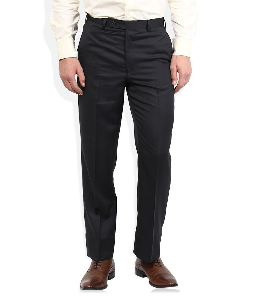 Park Avenue Black Solid Flat Front Trousers