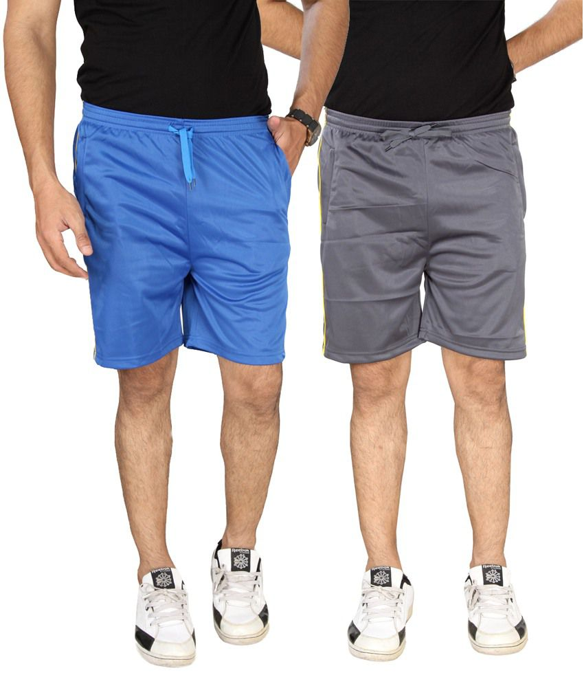 SLS Blue and Grey Polyester Shorts - Pack of 2