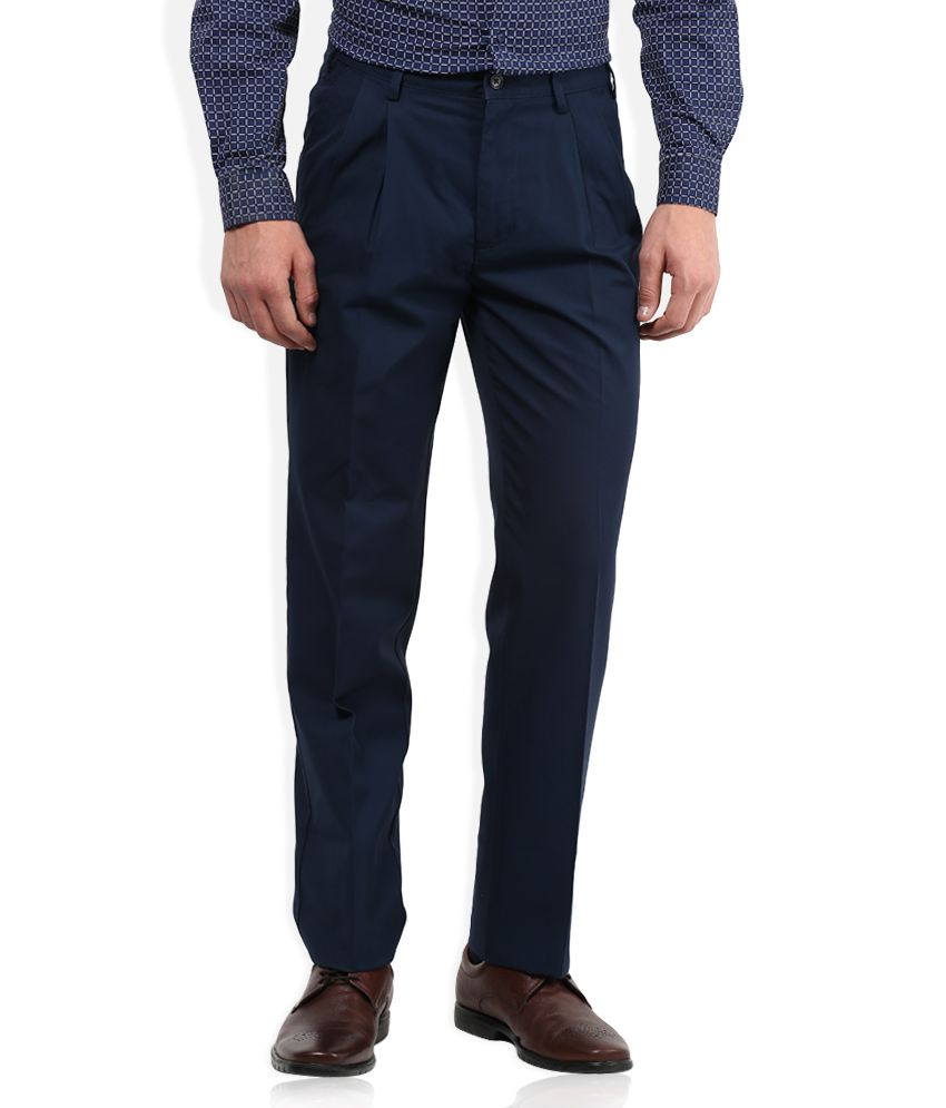 Park Avenue Blue Solid Pleated Front Trousers