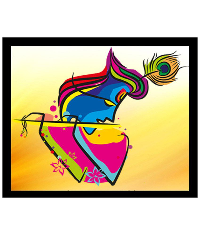 Wow Interiors and Decors Multicoloured Krishna with Flute Wooden Framed Painting