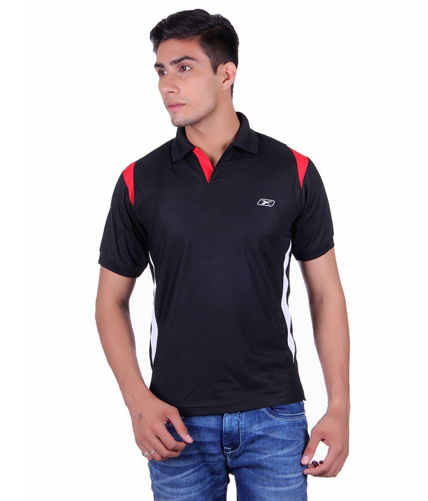 EX10 Black Polyester Polo T-Shirt