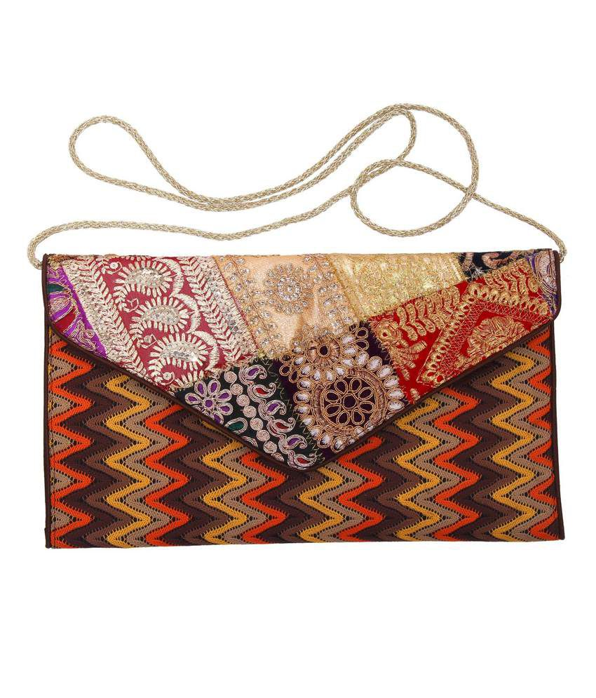 Gutthi Multicolor Handicrafted Embroidery Clutch