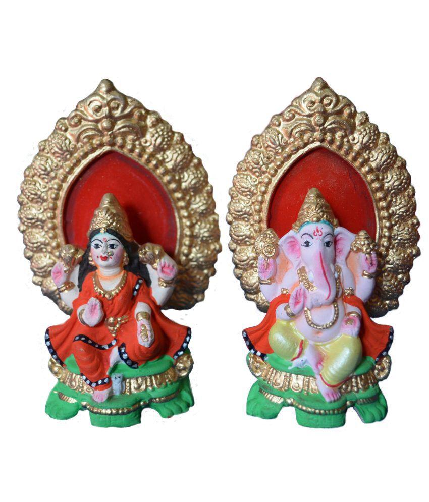 Pai Matte Terracotta Ganesh And Lakshmi Idol