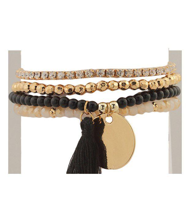 Tipsyfly Black Alloy Bracelet Set