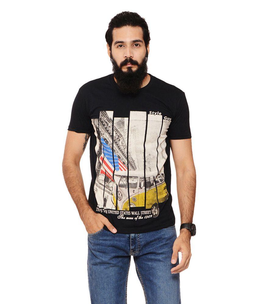 Warriors Black Cotton Round Neck Printed T-Shirt