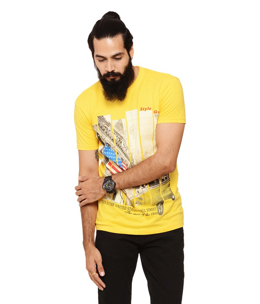 Warriors Yellow Cotton Round Neck Printed T-Shirt