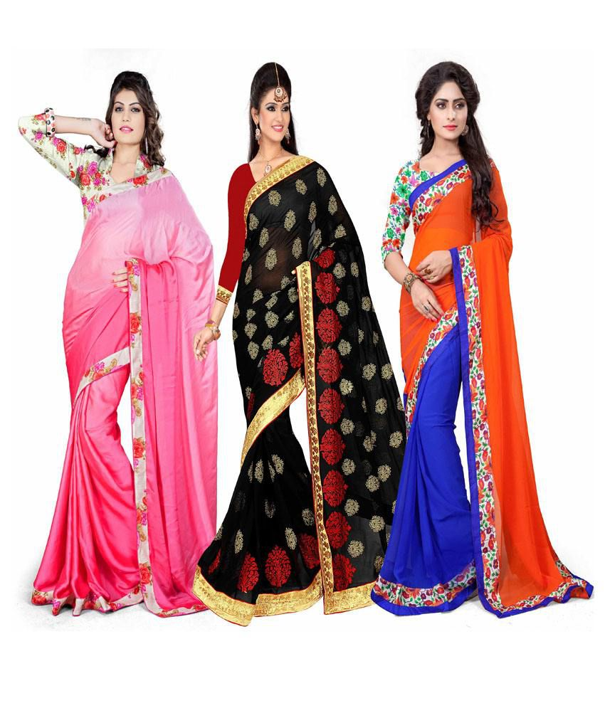 Aashvi Creation Multi Faux Georgette Pack of 3
