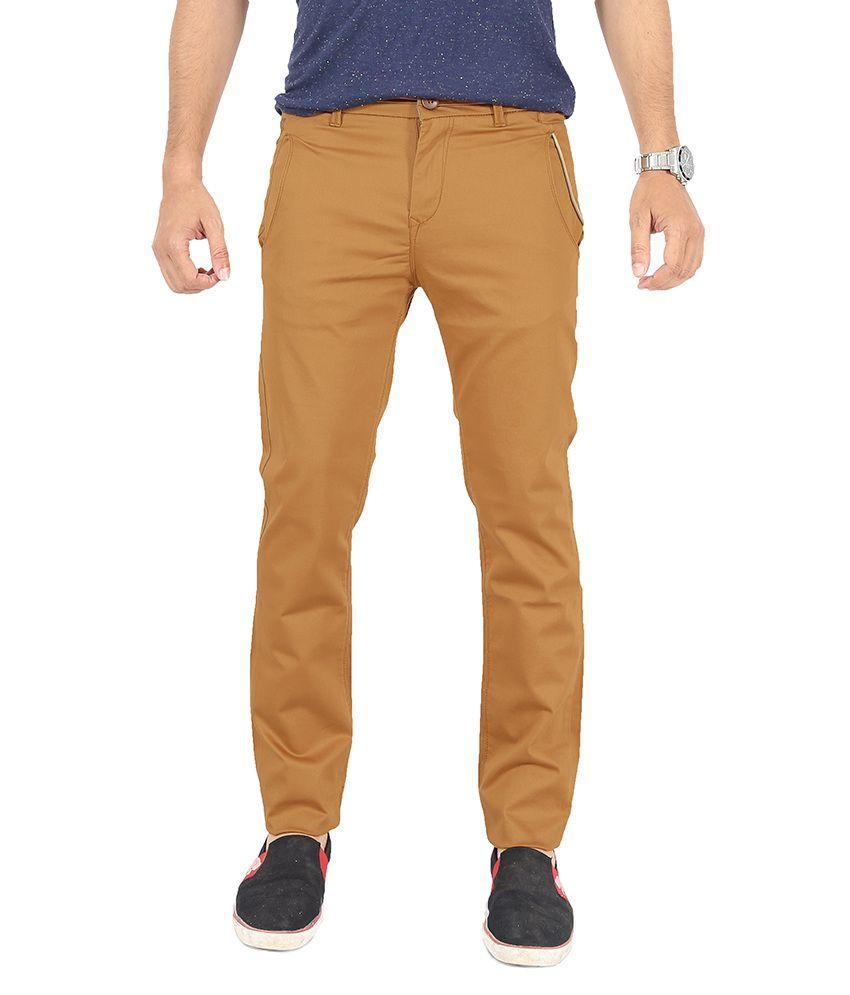 Uber Urban Orange Slim Fit Casual Chinos Trouser