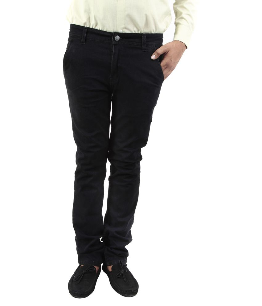 BlueTeazzers Black Linen Slim Fit Chinos