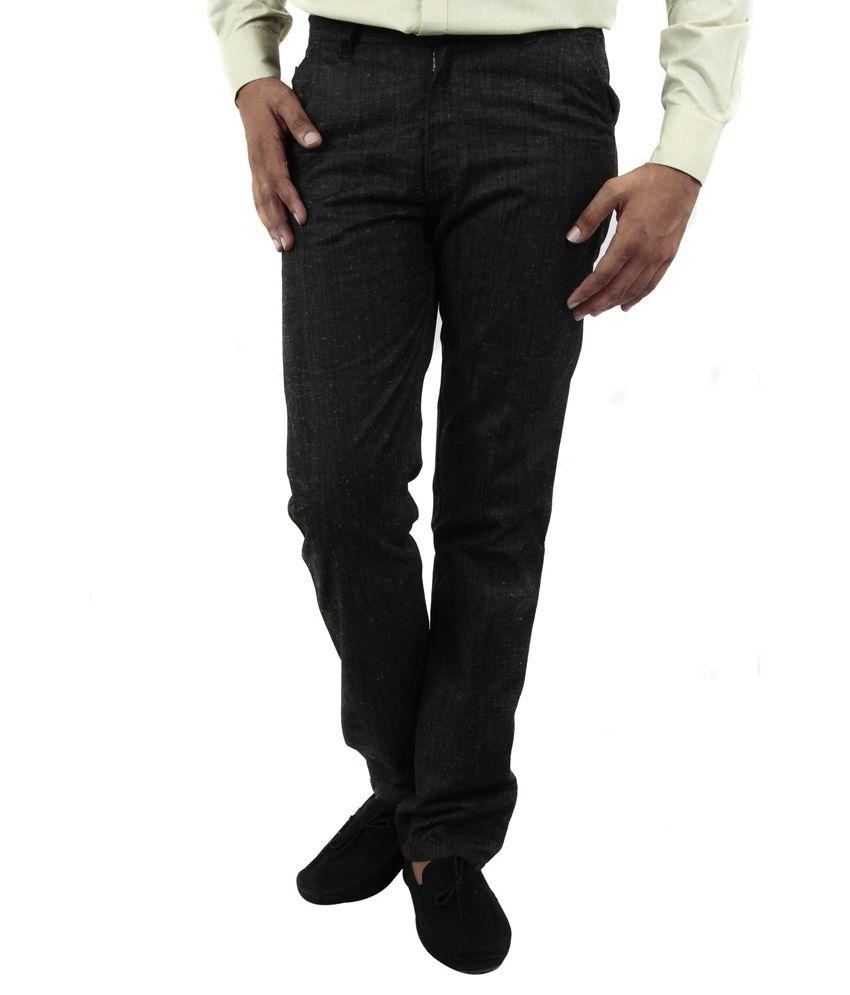BlueTeazzers Black Linen Slim Fit Chinos