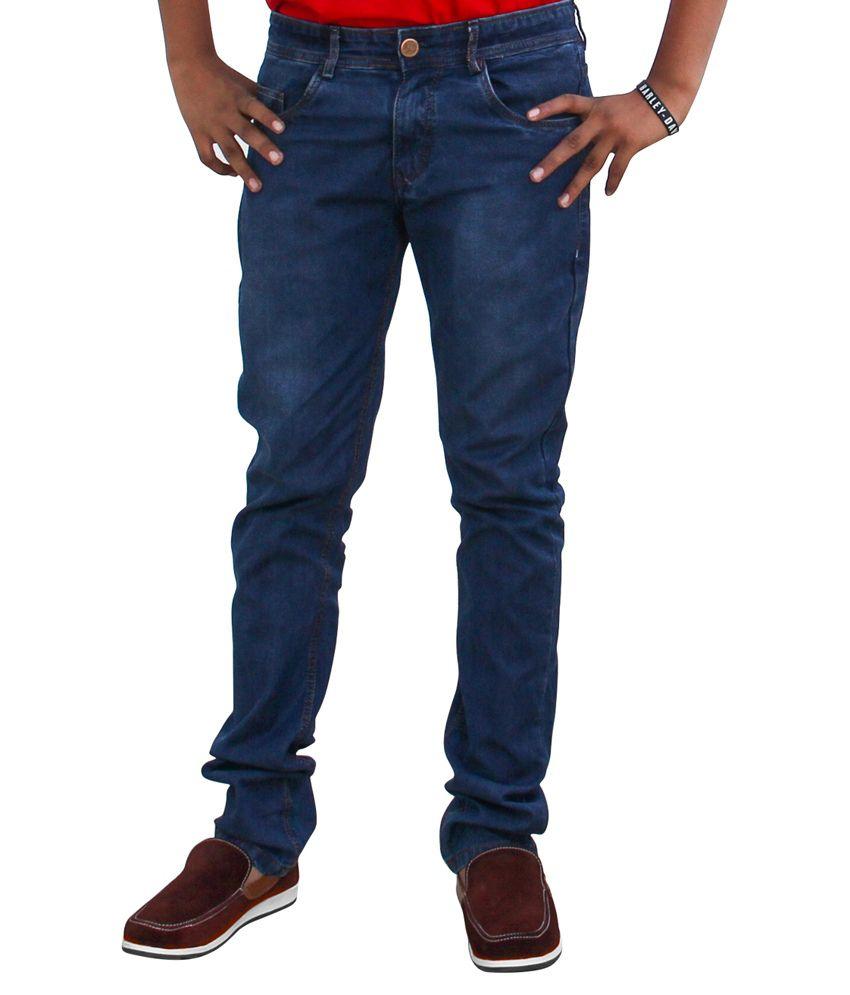 Moladz Blue Cotton Regular Fit Jeans