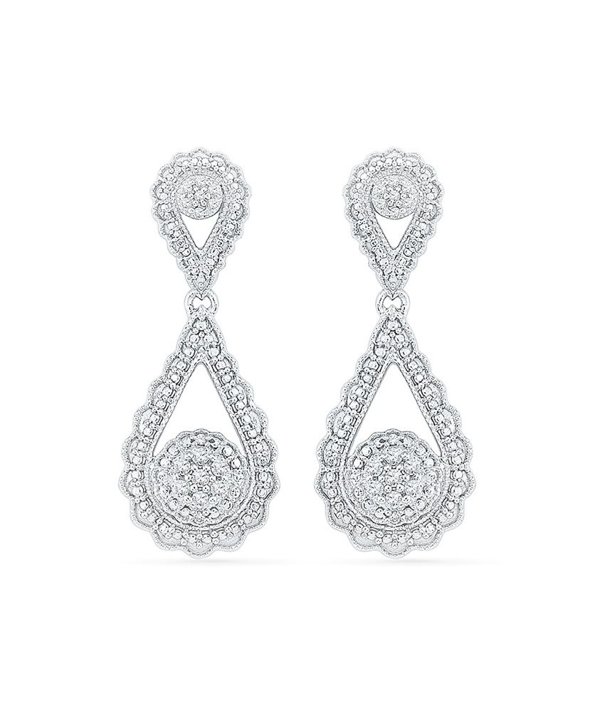 Radiant Bay 92.5 Silver Contemporary Round Diamond Drop Earrings