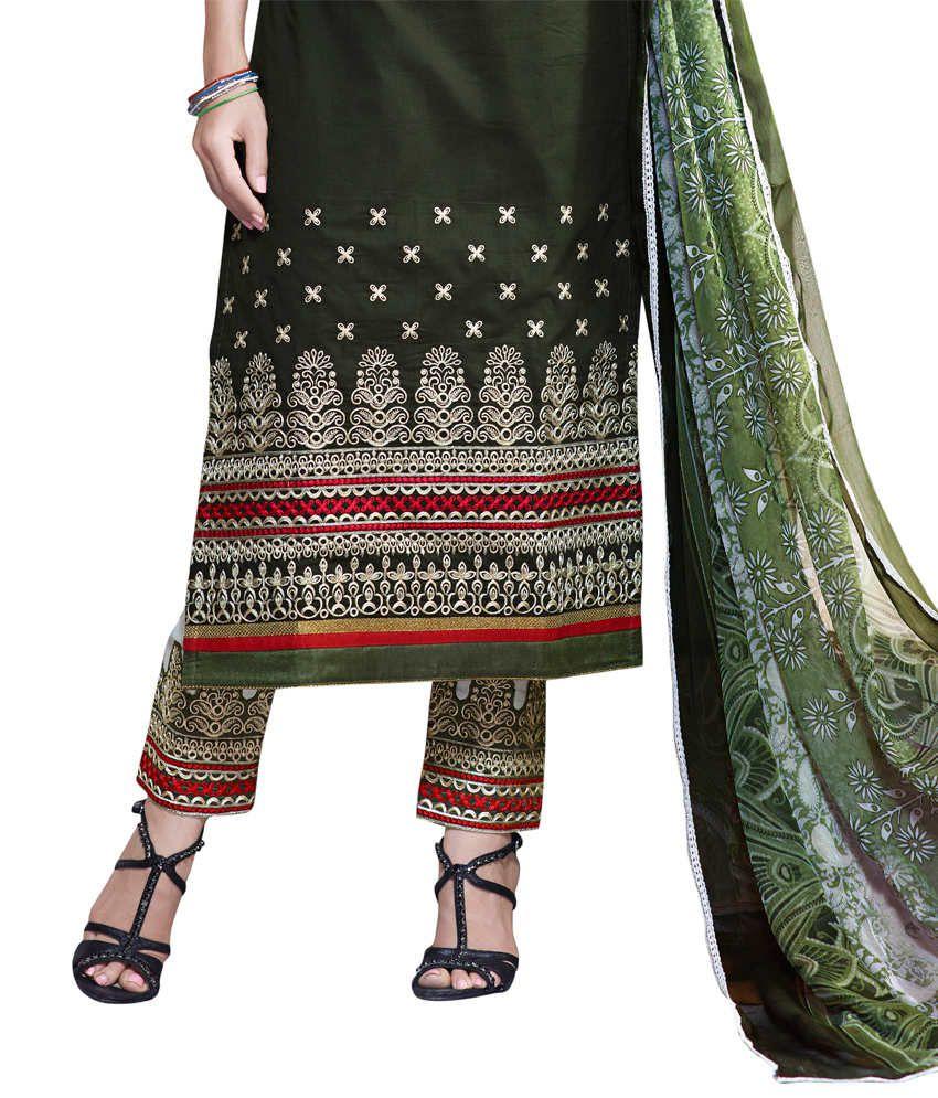 f6897b62f0 Riva Green Cotton Unstitched Dress Material - Buy Riva Green Cotton ...