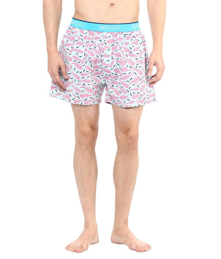Atorse Blue Cotton Printed Underwear