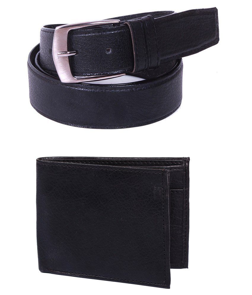 Calibro Combo Of Black Belt With Wallet