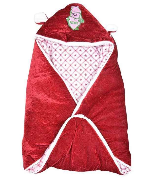 Kws Maroon Poly Cotton Baby Wrap
