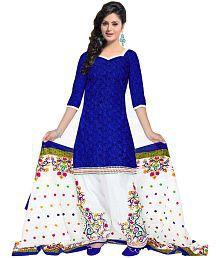 Aashvi Creation Blue Cotton Dress Material