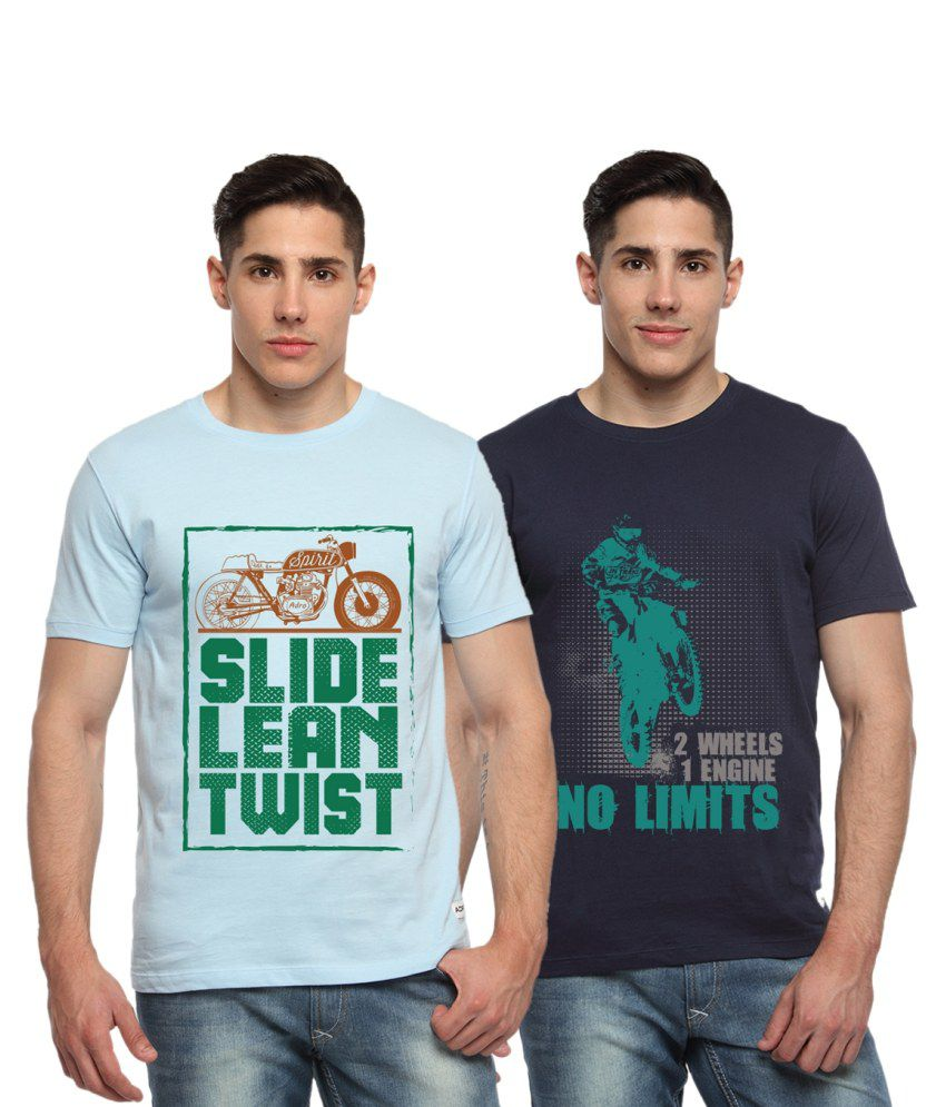 Adro Combo of Blue and Navy Cotton Bike Printed T-shirts (Pack of 2)